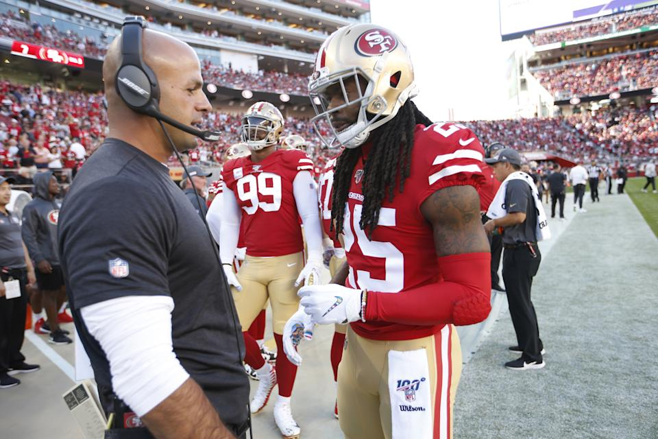 SANTA CLARA, CA - OCTOBER 7: Defensive Coordinator Robert Saleh and Richard Sherman #25 of the San Francisco 49ers talk on the sideline during the game against the Cleveland Browns at Levi's Stadium on October 7, 2019 in Santa Clara, California. The 49ers defeated the Rams 31-3. (Photo by Michael Zagaris/San Francisco 49ers/Getty Images)