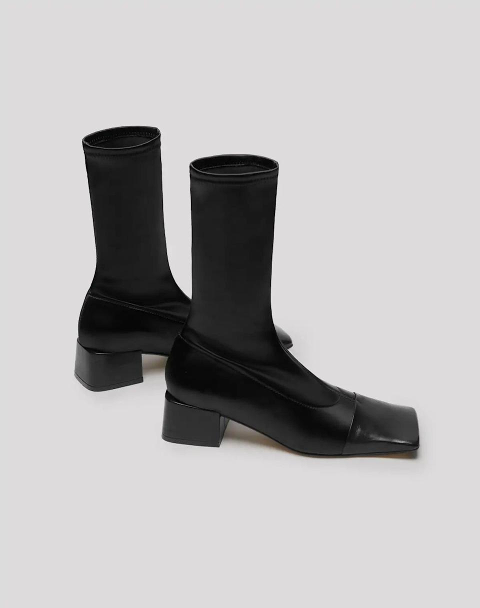 <p>These <span>Miista Lelyn Black Lycra Leather Ankle Boos</span> ($375) make a stylish fashion statement.</p>