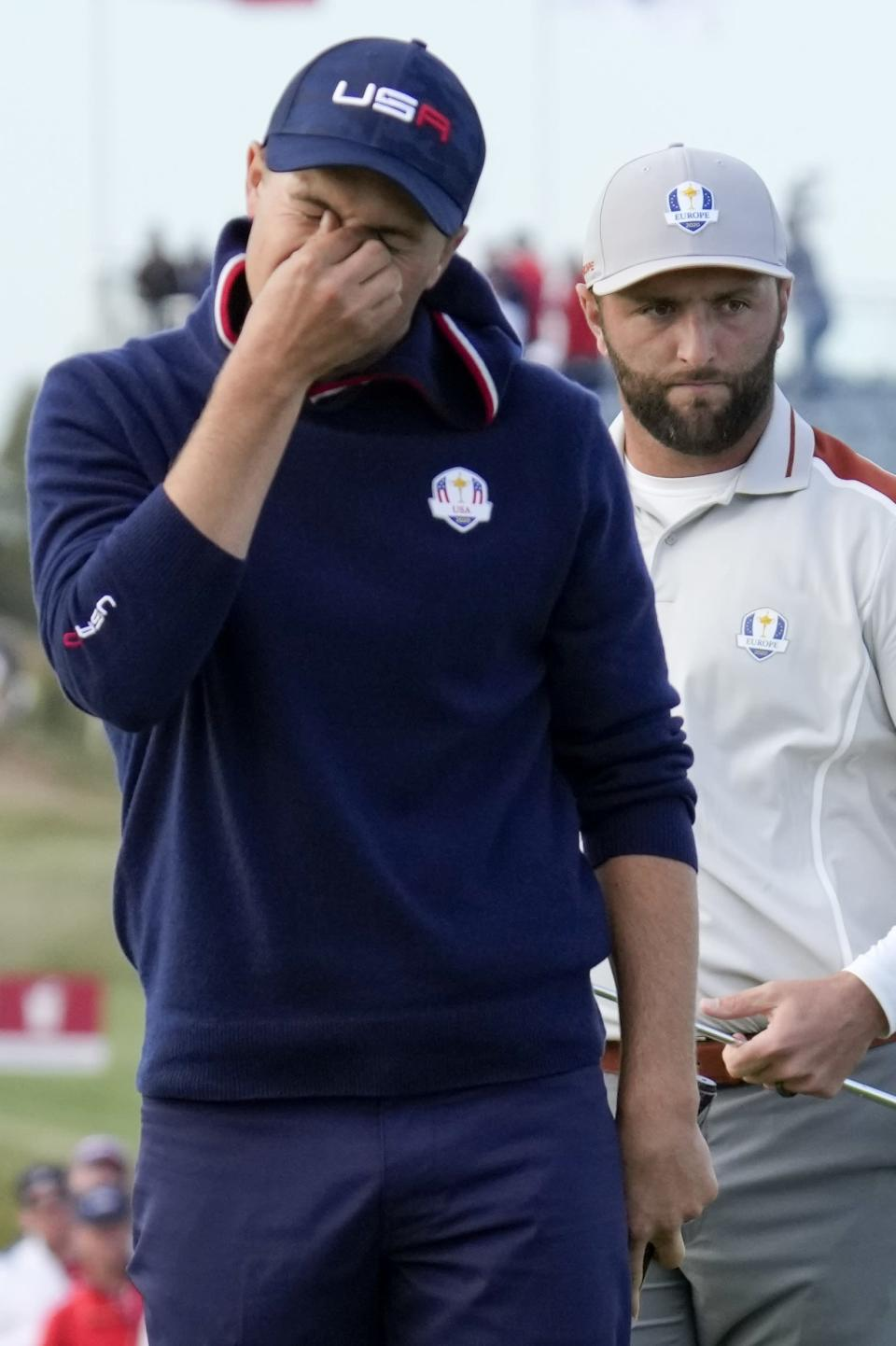 Team USA's Jordan Spieth reacts to his missed putt on the 15th hole during a four-ball match the Ryder Cup at the Whistling Straits Golf Course Saturday, Sept. 25, 2021, in Sheboygan, Wis. (AP Photo/Ashley Landis)