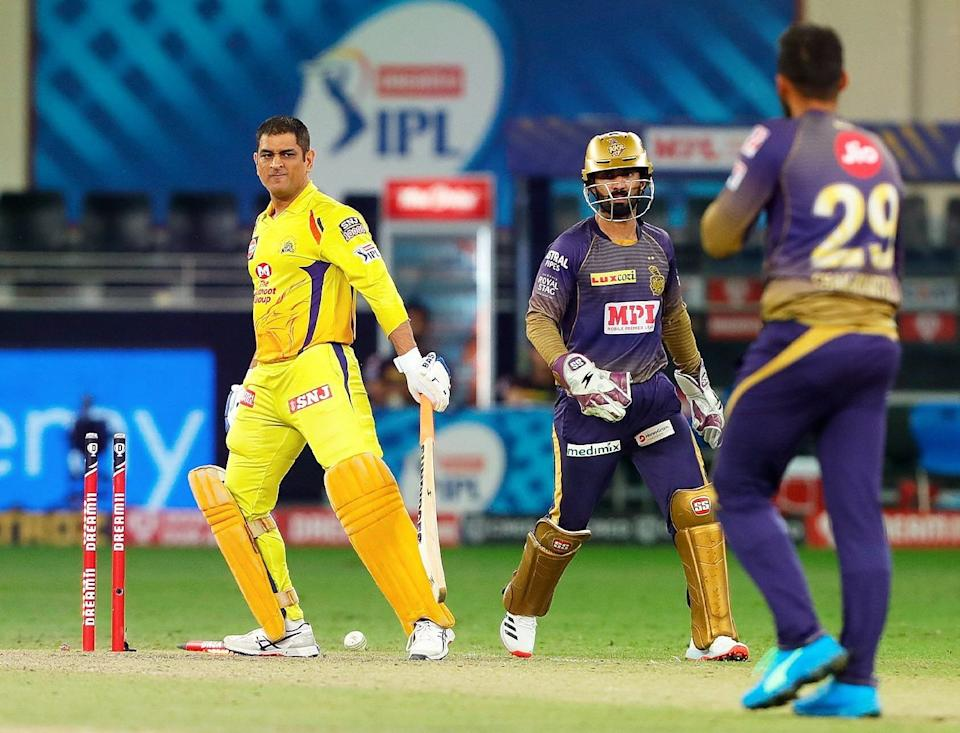 Varun Chakravarthy castled Mahendra Singh Dhoni's stumps for the second time in this IPL.