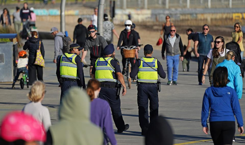 Victoria Police Protective Services Officers patrol St Kilda beach in Melbourne. Source: AAP