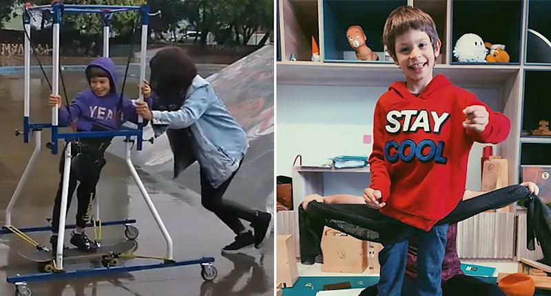 Brazilian boy Joao Vicente (right), 7, with cerebral palsy has fulfilled his skateboarding dream (left).