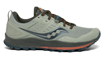 """<p><a class=""""link rapid-noclick-resp"""" href=""""https://go.redirectingat.com?id=127X1599956&url=https%3A%2F%2Fwww.saucony.com%2FUK%2Fen_GB%2Fperegrine-10%2F43084M.html&sref=https%3A%2F%2Fwww.esquire.com%2Fuk%2Fstyle%2Fshoes%2Fg24739613%2Fbest-mens-running-shoes%2F"""" rel=""""nofollow noopener"""" target=""""_blank"""" data-ylk=""""slk:SHOP"""">SHOP</a></p><p>Saucony knows how to make a trail shoe, and the Peregrine 10 is a favourite of professionals across the world. The shoe boasts aggressive lugs made of PWERTRAC tacky rubber that provide an assured grip on the most challenging of surfaces, and the rock plate protects you from debris and other harmful elements. Top stuff.</p><p>Peregrine 10, £110, <a href=""""https://www.saucony.com/UK/en_GB/peregrine-10/43084M.html#"""" rel=""""nofollow noopener"""" target=""""_blank"""" data-ylk=""""slk:saucony.com"""" class=""""link rapid-noclick-resp"""">saucony.com</a></p>"""
