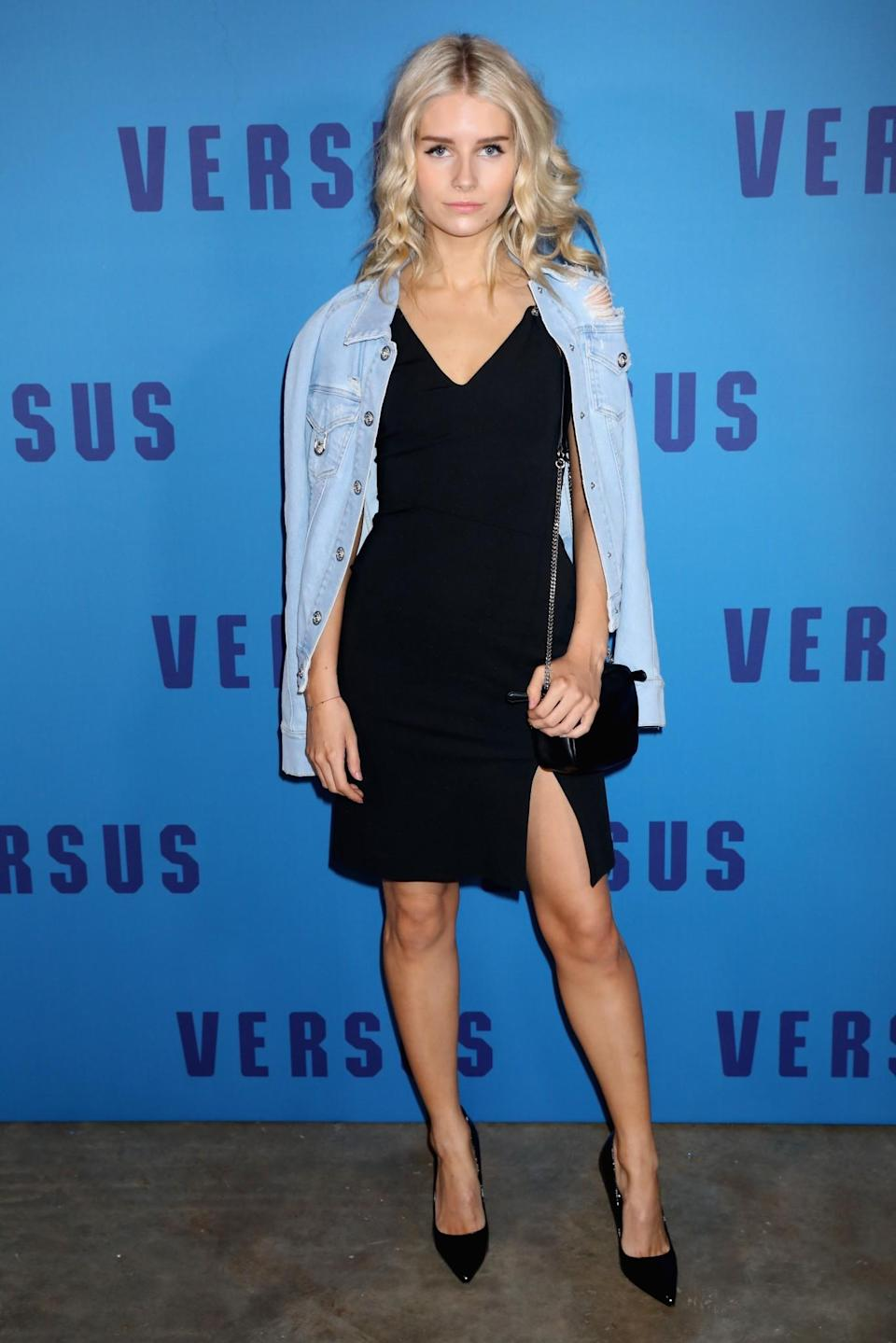 <p>Lottie Moss donned a chic black dress and denim jacket. <i>[Photo: Getty]</i> </p>