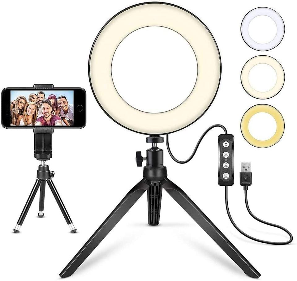"""<h2>MACTREM LED Ring Light 6"""" with Tripod Stand</h2><br><br><strong>MACTREM</strong> LED Ring Light 6"""" with Tripod Stand, $, available at <a href=""""https://amzn.to/3dAgSZP"""" rel=""""nofollow noopener"""" target=""""_blank"""" data-ylk=""""slk:Amazon"""" class=""""link rapid-noclick-resp"""">Amazon</a>"""