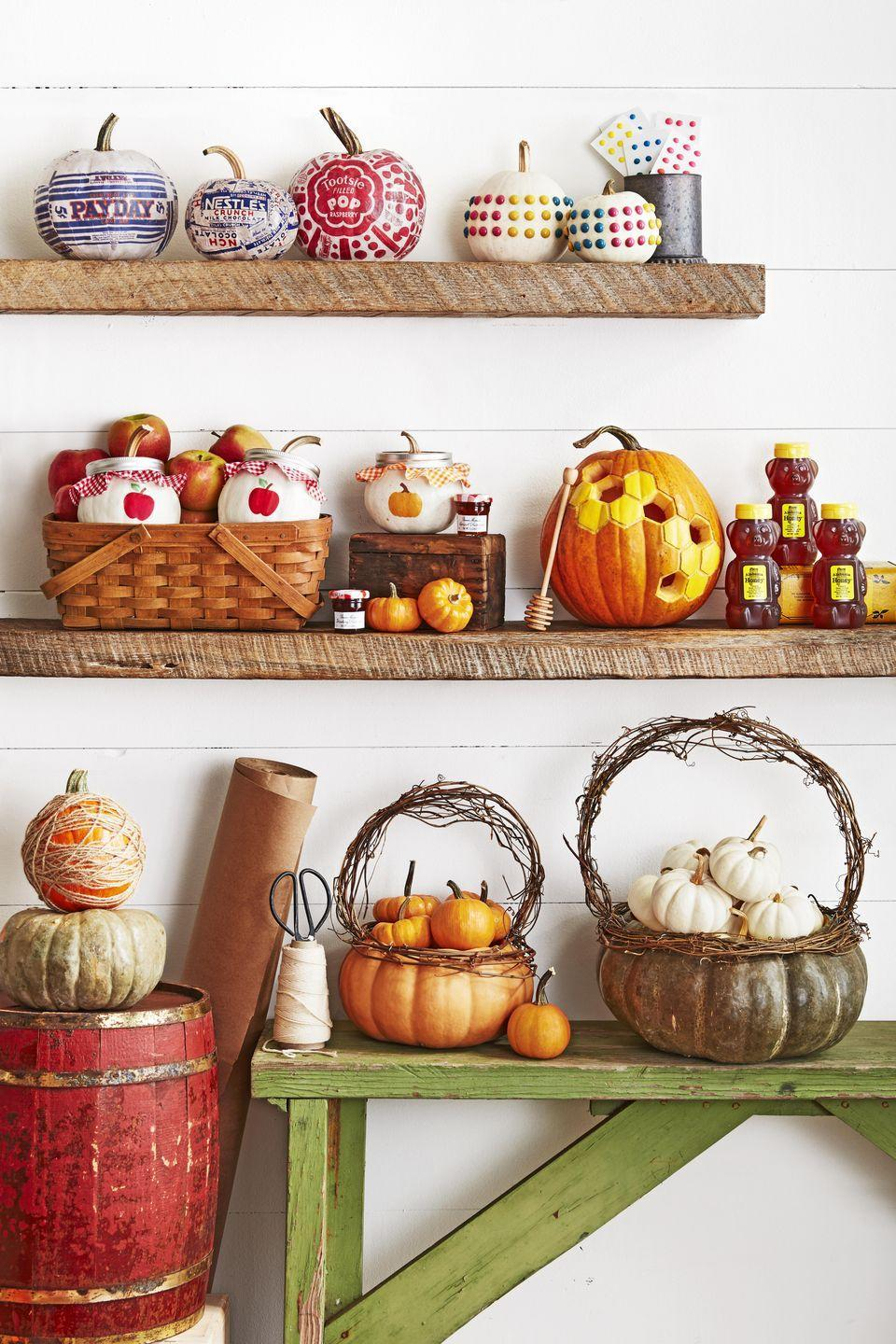 <p>Fill these cutie pumpkin baskets with mini pumpkins or candy for kiddos.<br></p><p>Cut off the top quarter of a flat pumpkin (this is a Musquee de Provence variety); scoop out pulp and seeds. Attach lengths of grapevine just below the opening with T-pins. Attach a grapevine handle just inside the opening with T-pins. Nestle mini pumpkins in the basket. </p>