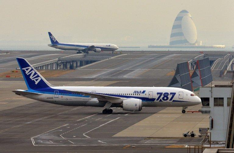 An  All Nippon Airways'  dreamliner is pulled by a towing tractor at Tokyo's Haneda airport on January 16, 2013