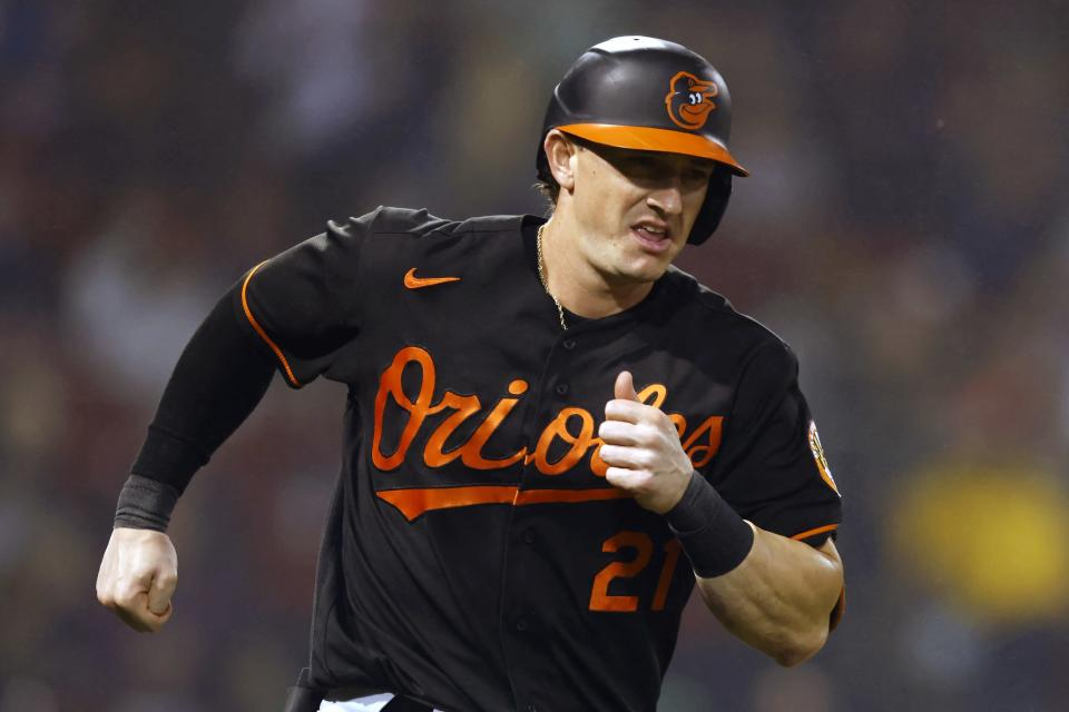 Baltimore Orioles' Austin Hays runs the bases on a solo home run during the second inning of the team's baseball game against the Boston Red Sox, Friday, Sept. 17, 2021, in Boston. (AP Photo/Michael Dwyer)