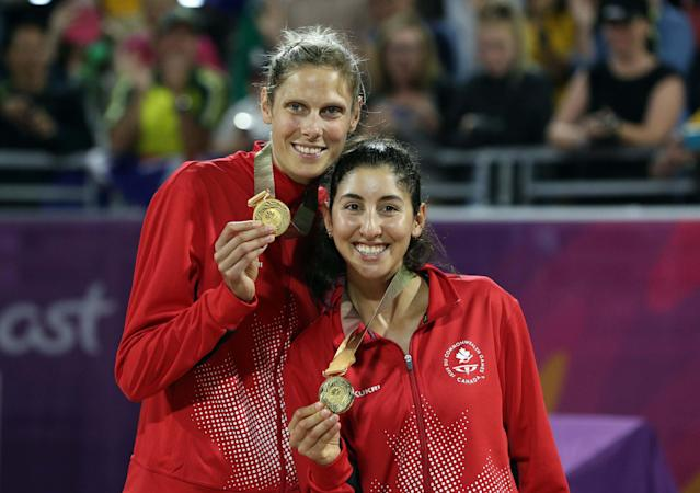 Beach Volleyball - Gold Coast 2018 Commonwealth Games - Women's Medal Ceremony - Coolangatta Beachfront - Gold Coast, Australia - April 12, 2018. Gold medalists Sarah Pavon and Melissa Humana-Paredes of Canada pose. REUTERS/Athit Perawongmetha
