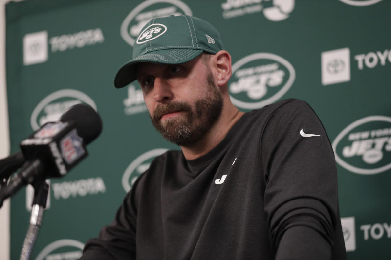 New York Jets head coach Adam Gase speaks during a news conference after an NFL football game against the Miami Dolphins, Sunday, Nov. 3, 2019, in Miami Gardens, Fla. (AP Photo/Lynne Sladky)