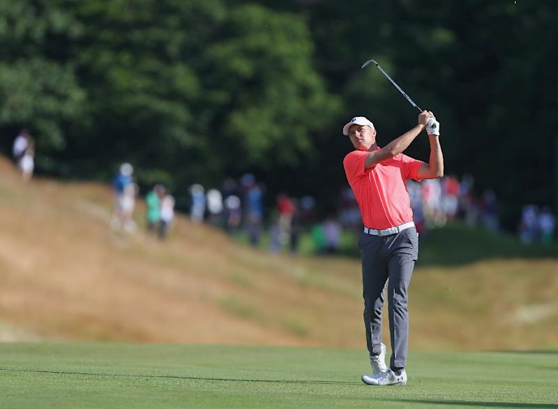 Jordan Spieth watches his second shot on the 12th hole during the second round of the Travelers Championship