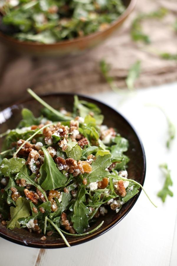 High Protein Vegetarian Meals Golden Raisin Wheat Berry Arugula Salad