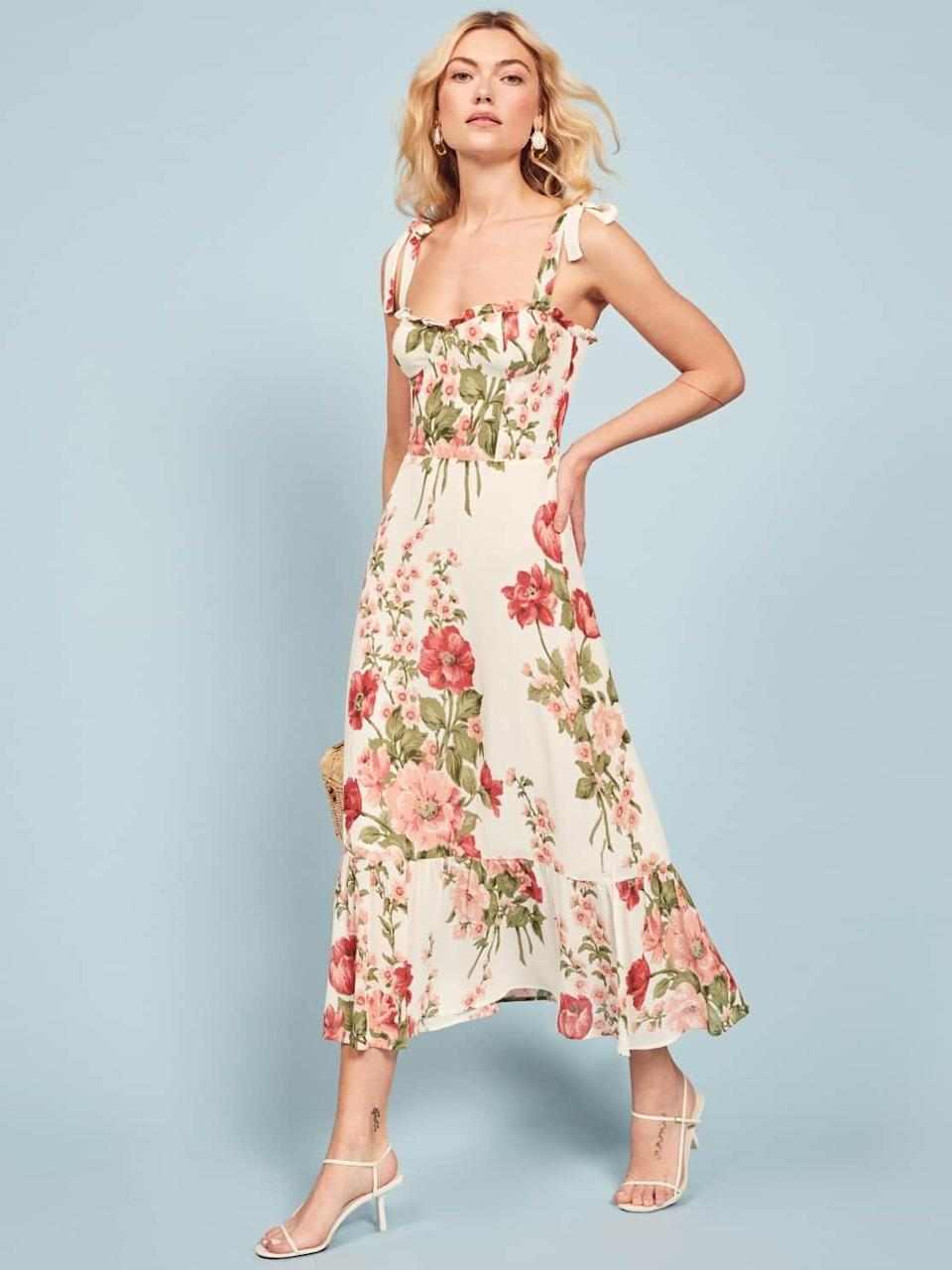 """<p>With its complete transparency and retro designs, Reformation has quickly become one of the leading sustainable brands out there. <a href=""""https://www.popsugar.com/fashion/Selena-Gomez-Red-Reformation-Dress-43731361"""" class=""""link rapid-noclick-resp"""" rel=""""nofollow noopener"""" target=""""_blank"""" data-ylk=""""slk:Selena Gomez is just one of the many starlets"""">Selena Gomez is just one of the many starlets</a> who have been spotted wearing the brand. </p> <p><strong>What We'd Buy</strong>: <span>Reformation Nikita Dress</span> ($248)</p>"""