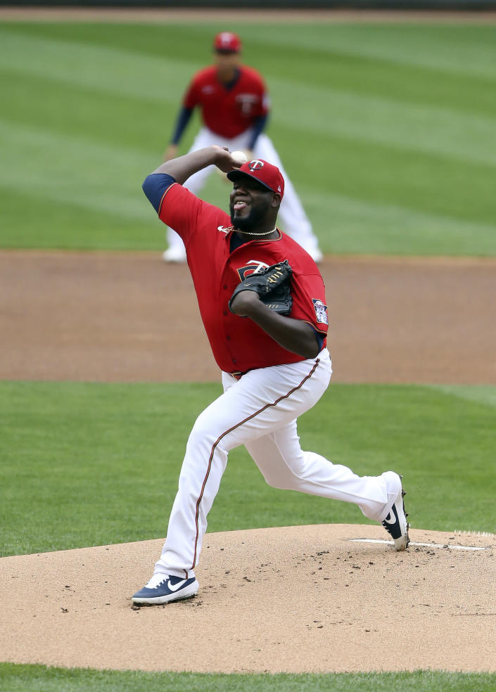 Minnesota Twins pitcher Michael Pineda (35) throws against the Seattle Mariners during the first inning of a baseball game, Saturday, April 10, 2021, in Minneapolis. (AP Photo/Stacy Bengs)
