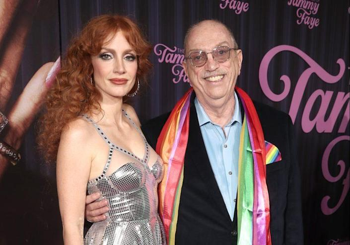 """Jessica Chastain and Steve Pieters at the New York premiere of """"The Eyes of Tammy Faye."""" - Credit: Todd Williamson/January Images"""