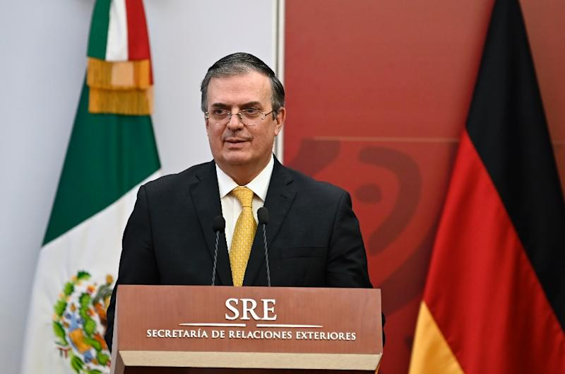 "Mexican Foreign Minister Marcelo Ebrard (pictured May 2, 2019) told reporters that ""unless you invest in Central America on a major scale...the flow of migrants isn't going to change"""