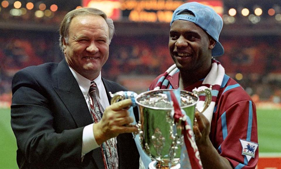Ron Atkinson holding the Coca-Cola cup with Dalian Atkinson after Aston Villa beat Manchester United in the 1994 League Cup final.