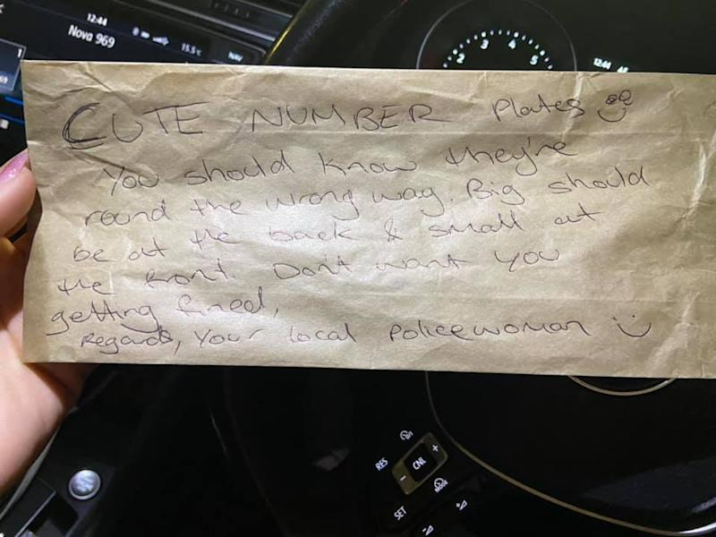This kind note was left attached to Tamara Gordon's car at the Miranda Westfield. Source: Supplied
