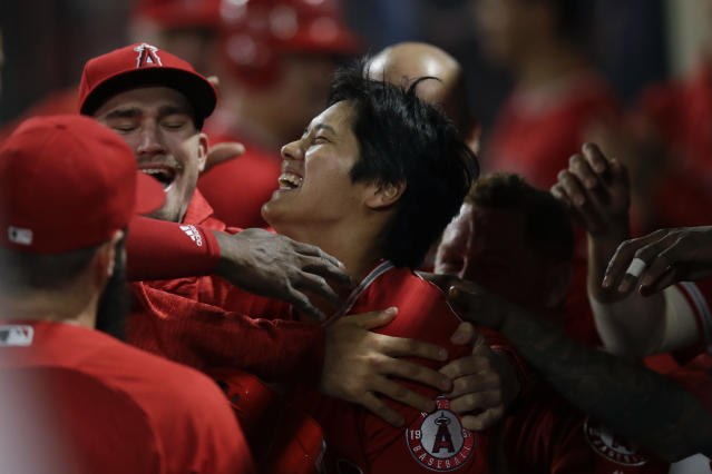 Angels rookie Shohei Ohtani celebrates his first home run in the majors. (AP)