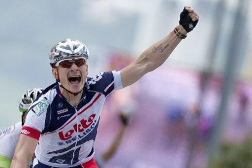 Stage winner, Germany's Andre Greipel celebrates on the finish line at the end of the 214.5 km and fourth stage of the 2012 Tour de France cycling race starting in Abbeville and finishing in Rouen, northwestern France
