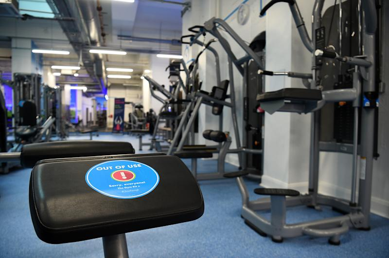 An 'Out Of Use' marker on an exercise machine inside the Gym Group in Vauxhall, London, after it was announced that gyms will be allowed to reopen from 25 July. (Photo by Kirsty O'Connor/PA Images via Getty Images)