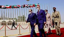 Iraqi Prime Minister Mustafa al-Kadhemi receives Egyptian President Abdel Fattah al-Sisi in Baghdad, one of several leaders at a regional summit, seen here in a photograph released by Iraq's Prime Minister's Media Office (AFP/-)