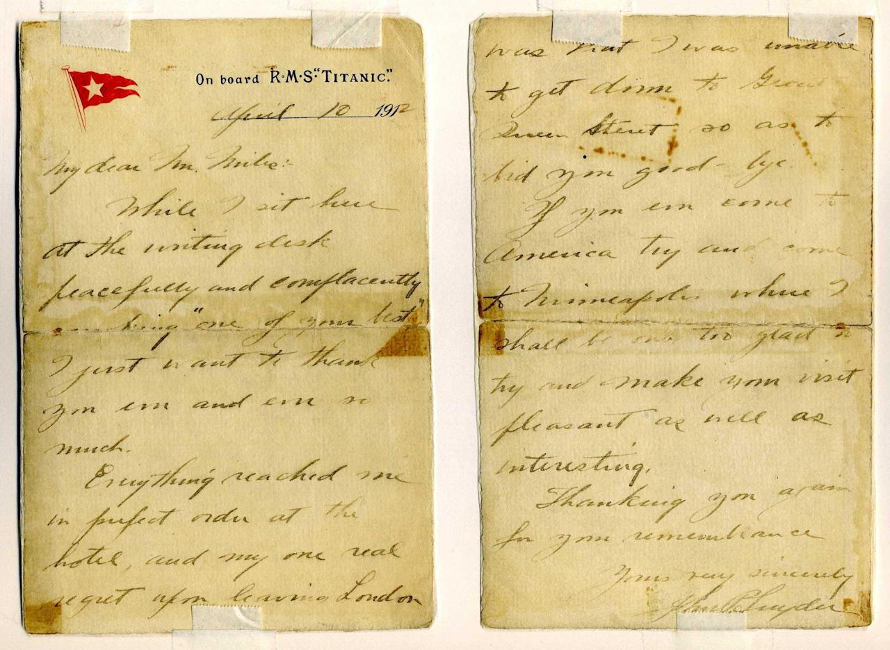 "<font face=""Arial"">Letter on Titanic stationary dated April 10, 1912, written by Mr. Snyder to the proprietor of a  London tobacco shop where Mr. Snyder purchased cigars before boarding  the ship. ""While I sit here at the writing desk peacefully and  complacently smoking 'one of your best,' I just want to thank you....""<br><br></font>(Photo courtesy of <a target=""_blank"" href=""http://www.weissauctions.com/"">Phillip Weiss Auctions</a>)"