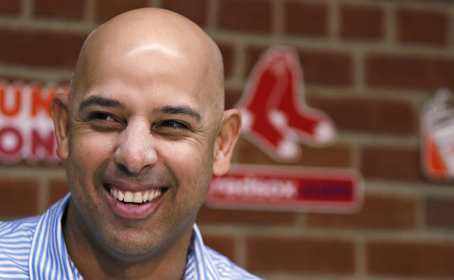 Boston Red Sox manager Alex Cora listens to a reporter's question during a baseball news conference at Fenway Park in Boston, Thursday, Nov. 1, 2018. (AP Photo/Charles Krupa)