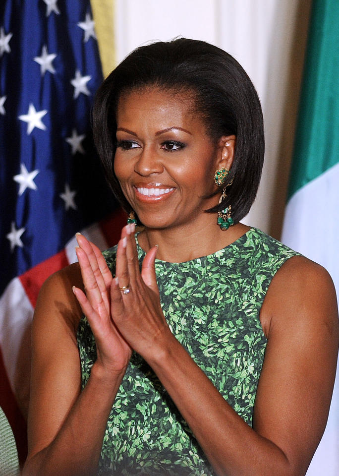 First Lady Michelle Obama attends a St. Patrick's Day reception in the  East Room of the White House on March 17, 2011 in Washington, DC.<br><br>(Photo by Olivier  Douliery-Pool/Getty Images)