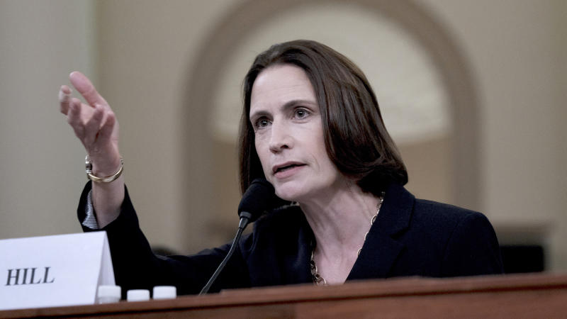 Fiona Hill, former top Russia adviser to the White House, testifies in the impeachment inquiry of President Trump on Nov. 21. (Photo: Bonnie Jo Mount/The Washington Post via Getty Images)