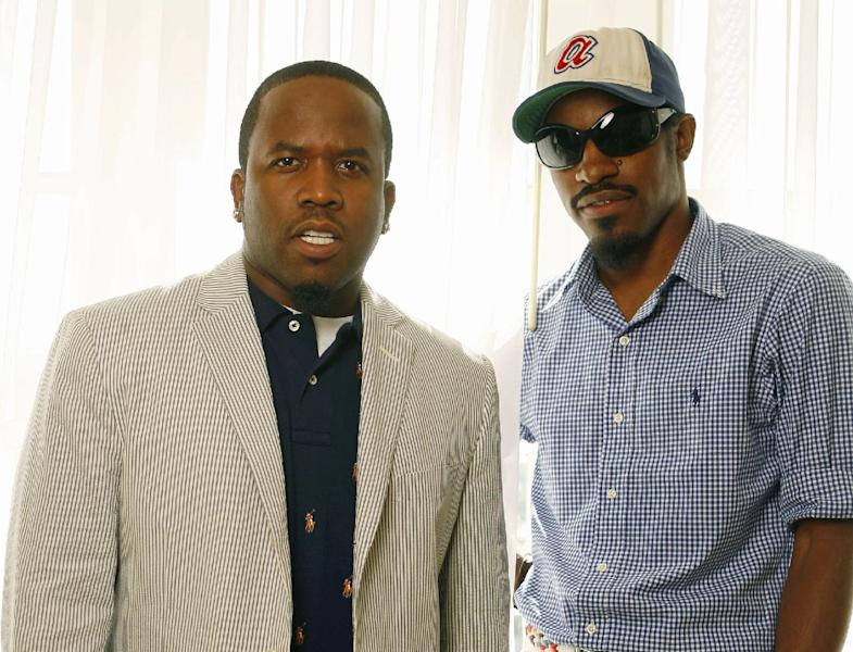 FILE - This Aug. 11, 2006 file photo shows musicians Andre Benjamin, right, and Big Boi, of the musical group Outkast in Los Angeles. Eminem and Outkast will headline this year's Lollapalooza music festival on Aug. 1-3, 2014, in Chicago. Festival founder Perry Farrell announced the lineup of more than 130 acts on Wednesday, March 26, 2014. (AP Photo/Damian Dovarganes, File)