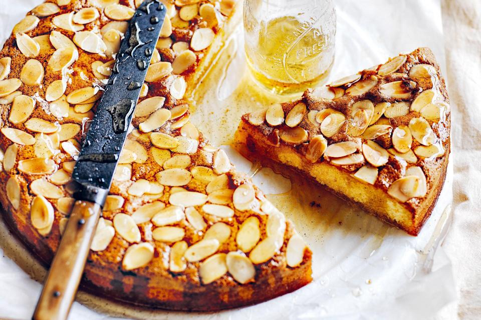 "A combination of almond meal and almond liqueur drives home the flavor in this rich, dense, moist cake. A touch of self-rising flour adds just enough lift to make it irresistible. <a href=""https://www.epicurious.com/recipes/food/views/almond-syrup-cake?mbid=synd_yahoo_rss"" rel=""nofollow noopener"" target=""_blank"" data-ylk=""slk:See recipe."" class=""link rapid-noclick-resp"">See recipe.</a>"