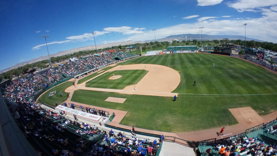 Tthis undated image shows a fisheye view of Sam Suplizio Field in Grand Junction, Colo. The Junior College World Series is on again after being canceled in 2020 because of the pandemic. The double-elimination tournament, also known as the JUCO World Series, has been held in Grand Junction since 1959. (Todd Bennett via AP)
