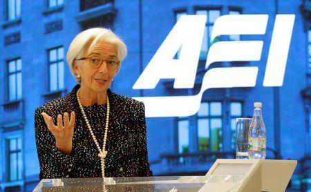 Managing Director of the International Monetary Fund Christine Lagarde speaks at the American Enterprise Institute in Washington, U.S., April 3, 2017.  REUTERS/Joshua Roberts