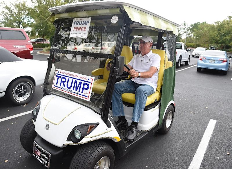 The Florida retiree community of The Villages has become an important Republican stronghold in Donald Trump's play for this key southeastern US state (AFP Photo/Rhona Wise)