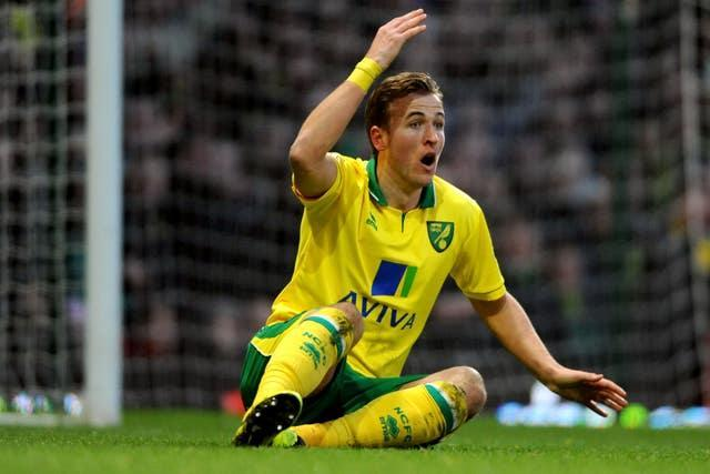 Harry Kane shows frustration during an appearance on loan for Norwich