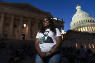 Rep. Cori Bush, D-Mo., speaks with reporters as she camps outside the U.S. Capitol, in Washington, Monday, Aug. 2, 2021, as anger and frustration has mounted in Congress after a nationwide eviction moratorium expired at midnight Saturday. (AP Photo/Jose Luis Magana)