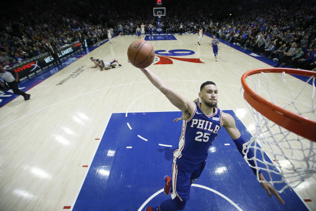 "<a class=""link rapid-noclick-resp"" href=""/nba/teams/phi"" data-ylk=""slk:Philadelphia 76ers"">Philadelphia 76ers</a>' <a class=""link rapid-noclick-resp"" href=""/nba/players/5600/"" data-ylk=""slk:Ben Simmons"">Ben Simmons</a> has been a fantasy stud his rookie season. (AP Photo/Matt Slocum)"