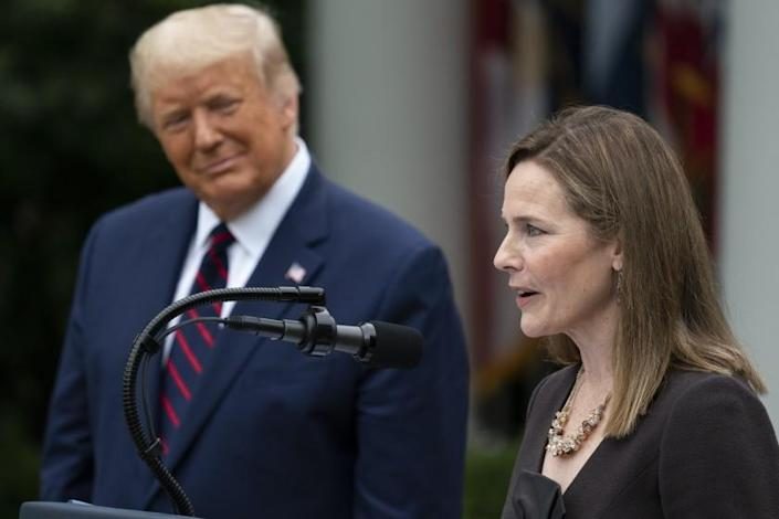 Judge Amy Coney Barrett speaks after President Donald Trump announced Barrett as his nominee to the Supreme Court, in the Rose Garden at the White House, Saturday, Sept. 26, 2020, in Washington. (AP Photo/Alex Brandon)
