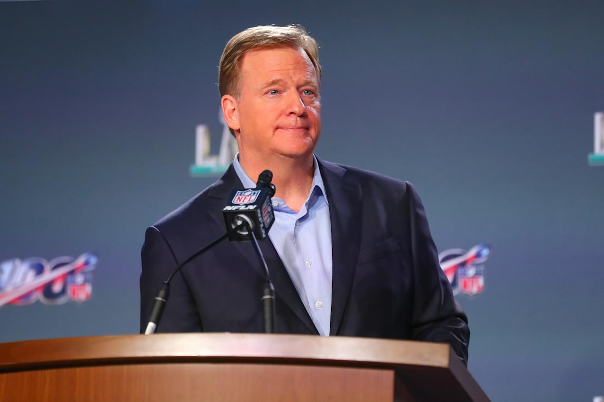 MIAMI, FL - JANUARY 29:  NFL Commissioner Roger Goodell speaks during the Commissioners  press conference on January 29, 2020 at the Hilton Downtown in Miami, FL. Photo taken with an iphone 11 Pro.  (Photo by Rich Graessle/PPI/Icon Sportswire via Getty Images)