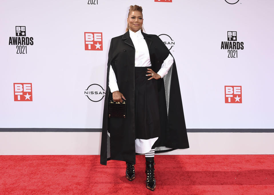 Queen Latifah arrives at the BET Awards on Sunday, June 27, 2021, at the Microsoft Theater in Los Angeles. (Photo by Jordan Strauss/Invision/AP)