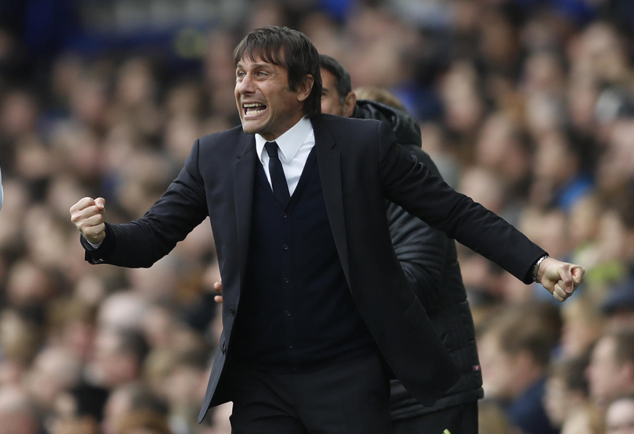 """Britain Football Soccer - Everton v Chelsea - Premier League - Goodison Park - 30/4/17 Chelsea manager Antonio Conte celebrates after Pedro (not pictured) scores their first goal   Action Images via Reuters / Carl Recine Livepic EDITORIAL USE ONLY. No use with unauthorized audio, video, data, fixture lists, club/league logos or """"live"""" services. Online in-match use limited to 45 images, no video emulation. No use in betting, games or single club/league/player publications.  Please contact your account representative for further details."""