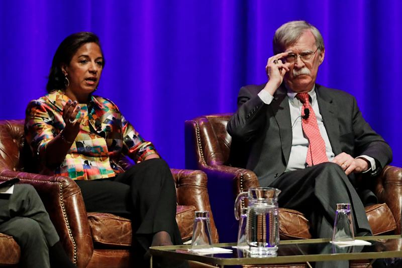 Former national security advisers Susan Rice and John Bolton take part in a discussion at Vanderbilt University in Nashville, Tennessee: AP