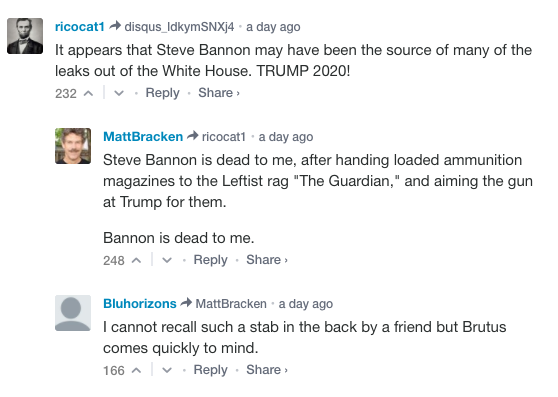 """Bannon is dead to me,"" one Breitbart commenter wrote. (Breitbart News)"