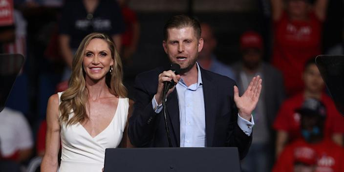 "Eric Trump and his wife, Lara Trump, at a campaign rally for President Donald Trump at the BOK Center on June 20 in Tulsa, Oklahoma. <p class=""copyright"">Win McNamee/Getty Images</p>"