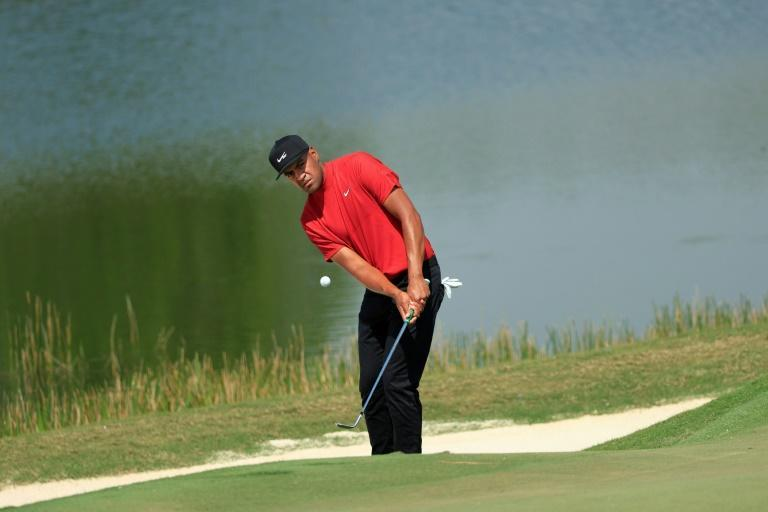 Man in red: Tony Finau was one of a horde of players who wore Tiger Woods' signature garb on the final day at The Concession