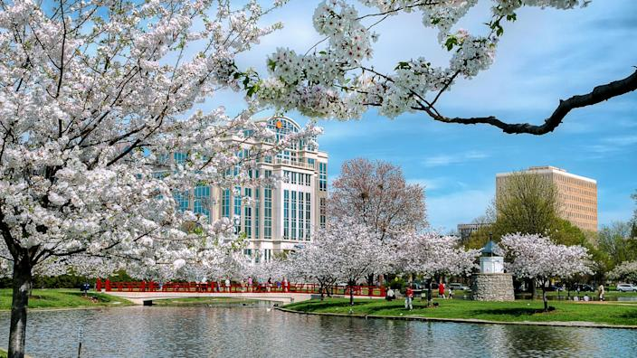 This is Big Spring Park in Huntsville, Alabama during the spring time.