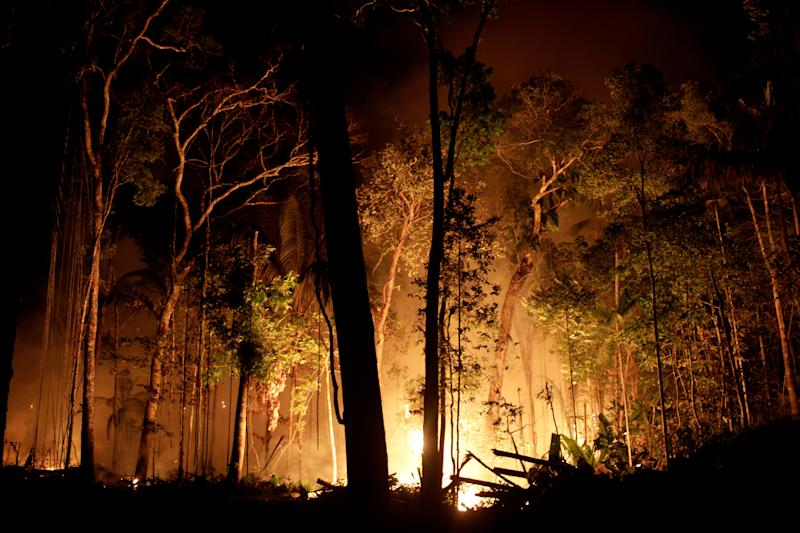 A fire burns a tract of Amazon jungle as it is cleared by loggers and farmers near Porto Velho, Brazil August 31, 2019. REUTERS/Ricardo Moraes TPX IMAGES OF THE DAY