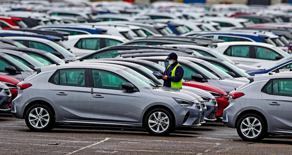 Cars at the Vauxhall plant in Ellesmere Port, Cheshire. Workers at Vauxhall's UK car factory are waiting for news about the future of the plant, with an announcement expected later on Thursday. Picture date: Wednesday February 24, 2021.