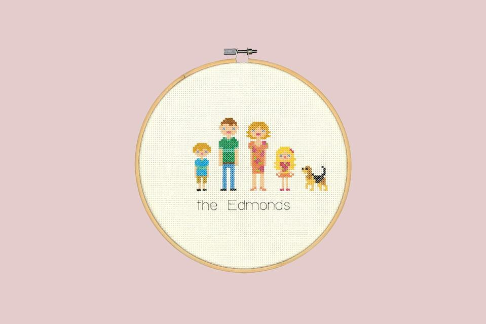 """<p>Craft the ultimate family heirloom with ever member of your inner circle. Everything about this counted cross stitch design can be customized from a catalogue of templates like the hair, skin, dress, age, and pets.</p> <p><strong><em>Shop Now:</em></strong><em> Dimensions Counted Cross Stitch Kit All in the Family, $13.68, <a href=""""https://www.amazon.com/Dimensions-Customized-Counted-Portrait-Diameter/dp/B016QNCBTM/ref=as_li_ss_tl?ie=UTF8&linkCode=ll1&tag=msllifecrossstitchkitsforbeginnersachurchilloct20-20&linkId=f857fae970b1dd317394a5a5bba1b7cb&language=en_US"""" rel=""""nofollow noopener"""" target=""""_blank"""" data-ylk=""""slk:amazon.com"""" class=""""link rapid-noclick-resp"""">amazon.com</a></em><em>.</em></p>"""